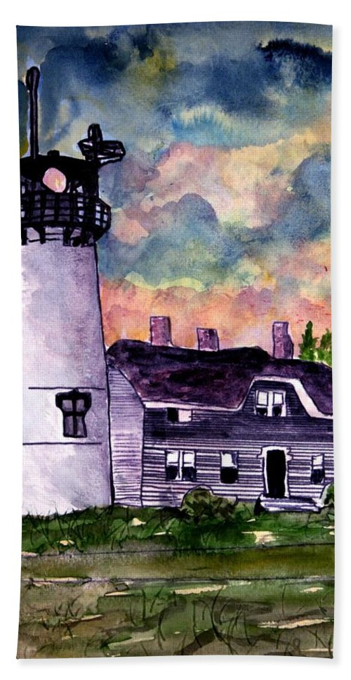 Lighthouse Hand Towel featuring the painting Chatham Lighthouse Martha's Vineyard Massachuestts Cape Cod Art by Derek Mccrea
