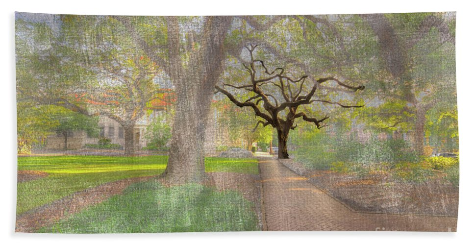 Hdr Bath Towel featuring the digital art Chatham Square by Larry Braun