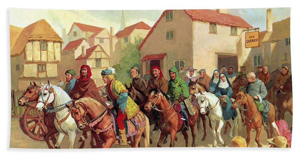 Chaucer's Pilgrims ;geoffrey Chaucer; The Canterbury Tales; Tabard Inn; Horses; Pilgrimage; To Canterbury Bath Sheet featuring the painting Chaucer's Pilgrims by van der Syde