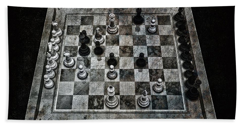 Checkmate In One Move Bath Towel featuring the digital art Checkmate In One Move by Ramon Martinez