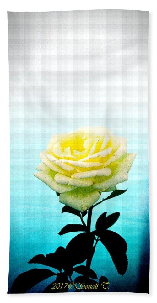 Yellow Rose Hand Towel featuring the digital art Cheerful Yellow Rose by Sonali Gangane