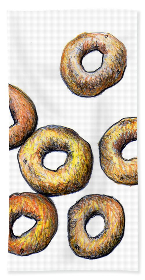 Cheerios Hand Towel featuring the drawing Cheerios 2 by Nancy Mueller