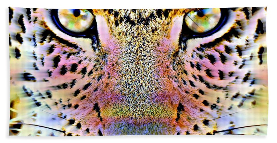 Cheetah Vi By Wbk Hand Towel featuring the painting Cheetah Vi by Wbk