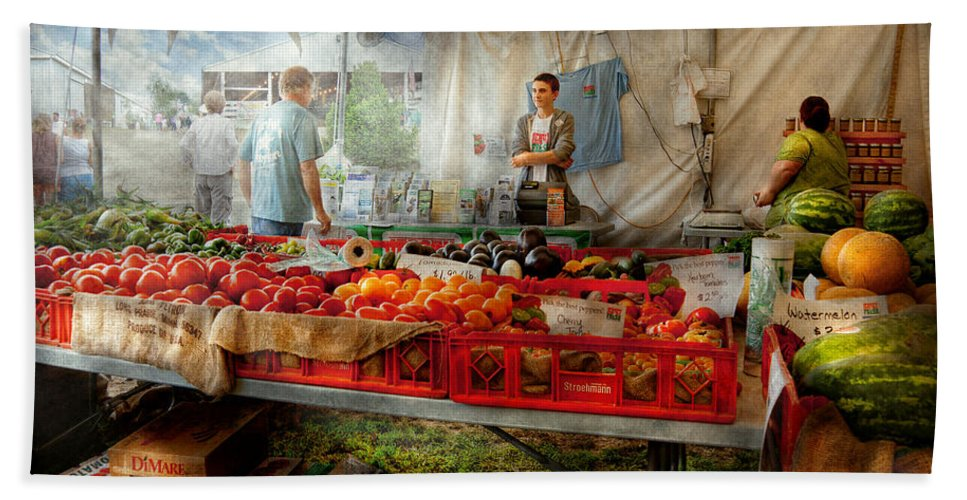 Chef Bath Sheet featuring the photograph Chef - Vegetable - Jersey Fresh Farmers Market by Mike Savad