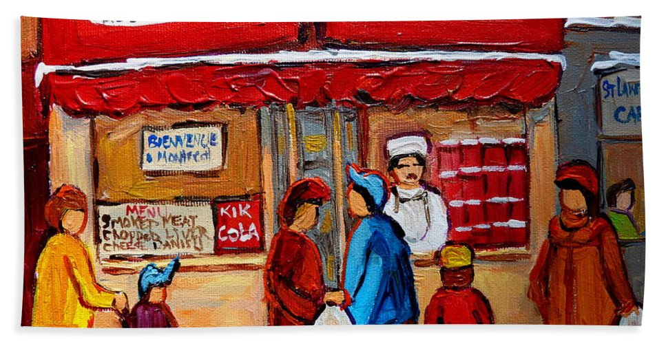 Schwartzs Hebrew Deli Hand Towel featuring the painting Chef In The Window by Carole Spandau
