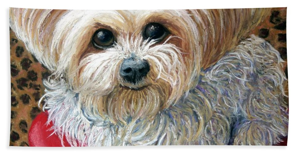Dog Hand Towel featuring the painting My Friend by Minaz Jantz