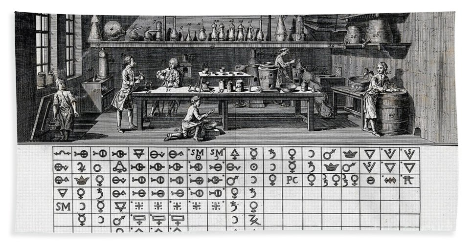 Historic Hand Towel featuring the photograph Chemical Lab With Proto-periodic Table by Wellcome Images