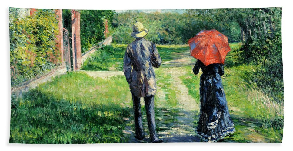 The Path Uphill Bath Towel featuring the painting Chemin Montant by Gustave Caillebotte