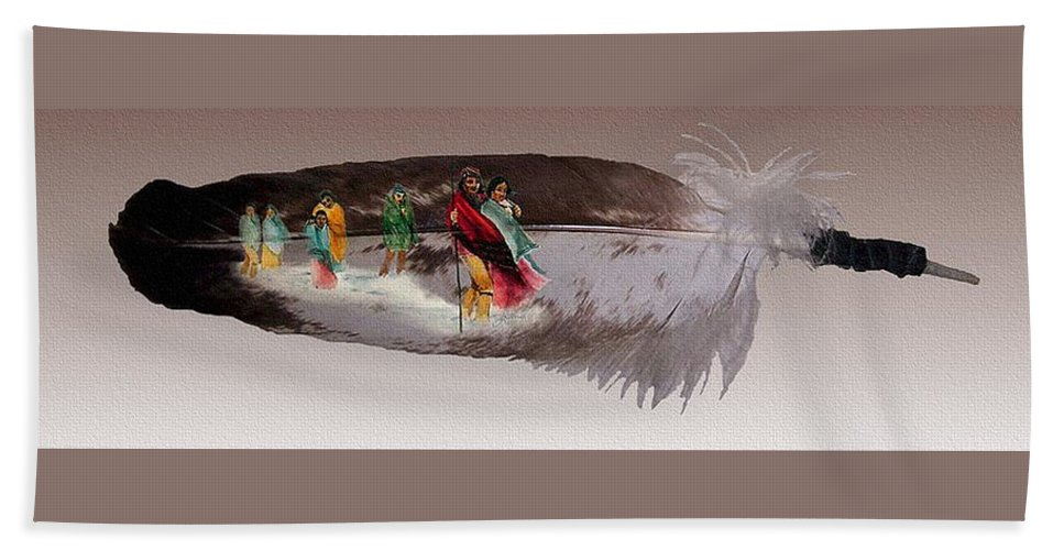 Cherokee Bath Sheet featuring the mixed media Cherokee By Blood by John Guthrie
