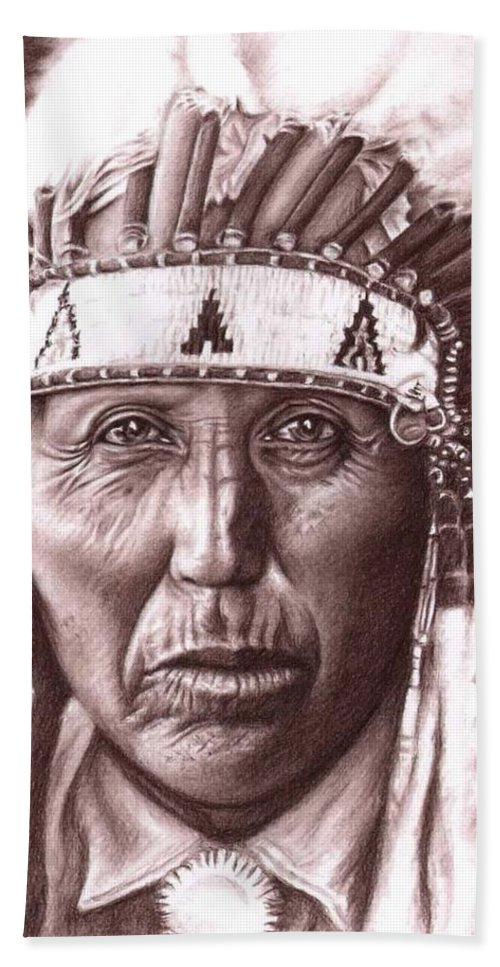 Indian Bath Sheet featuring the drawing Cherokee by Nicole Zeug