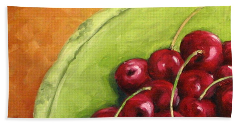 Art Hand Towel featuring the painting Cherries Green Plate by Richard T Pranke