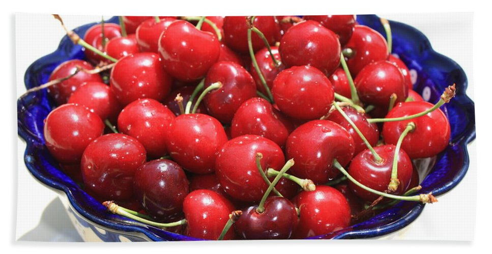 Cherries Hand Towel featuring the photograph Cherries In Blue Bowl by Carol Groenen