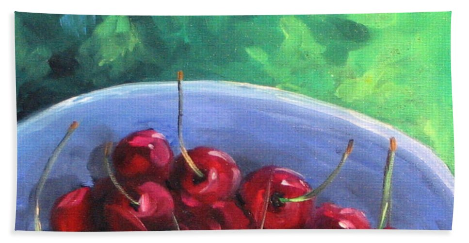 Art Bath Towel featuring the painting Cherries On A Blue Plate by Richard T Pranke