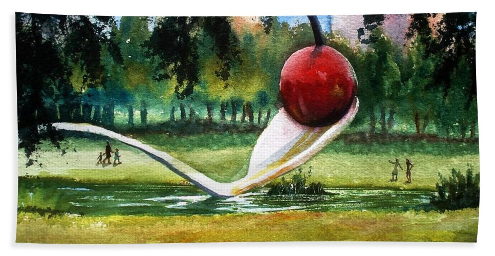 Cherry & Spoon Hand Towel featuring the painting Cherry And Spoon by Marilyn Jacobson