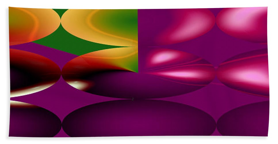 Cherry Cherries Fruit Abstract Orange Purple Green Food Plants Bath Sheet featuring the digital art Cherry by Andrea Lawrence