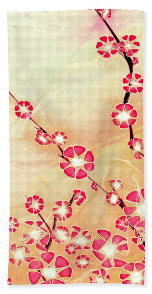Decorative Bath Sheet featuring the digital art Cherry Blossom by Anastasiya Malakhova