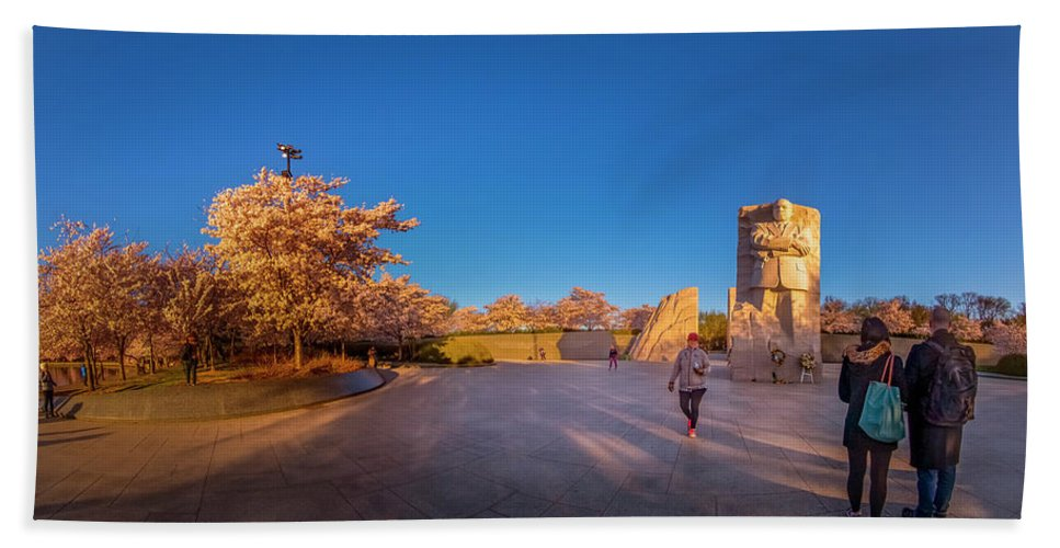 Mlk_blossom_pano_edited Hand Towel featuring the photograph Cherry Blossom At The Mlk Monument by Jelieta Walinski
