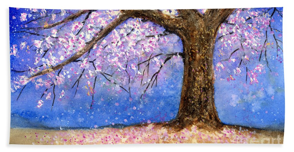 Cherry Blossom Bath Towel featuring the painting Cherry Blossom by Hailey E Herrera