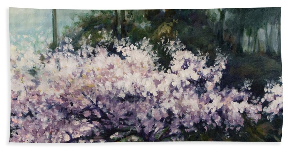 Trees Bath Towel featuring the painting Cherry Blossoms by Rick Nederlof