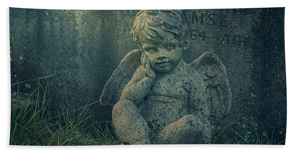 Anglican Bath Towel featuring the photograph Cherub Lost In Thoughts by Monika Tymanowska