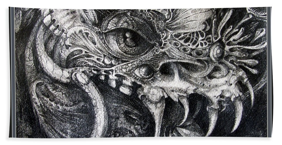 Bath Towel featuring the drawing Cherubim Of Beasties by Otto Rapp