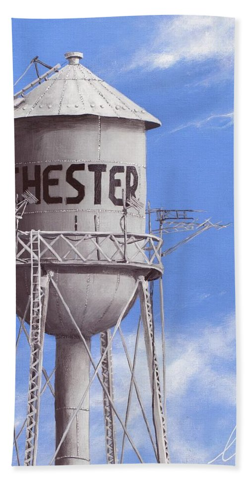Water Tower Hand Towel featuring the painting Chester Water Tower Ne by Cindy D Chinn