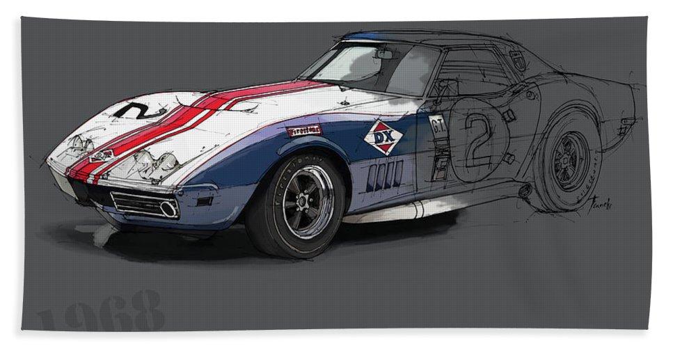 Chevrolet Corvette Convertible L88 1968 Bath Sheet featuring the digital art Chevrolet Corvette Convertible L88 1968,original Fast Race Car by Drawspots Illustrations
