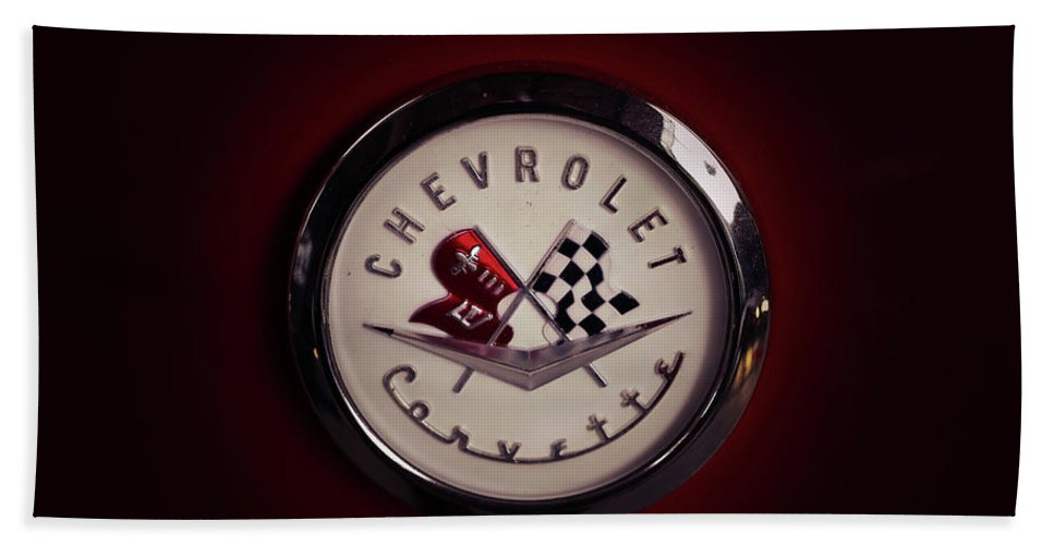 Chevrolet Corvette Logo Hand Towel featuring the photograph Chevrolet Corvette, Corvette Logo by Hottehue