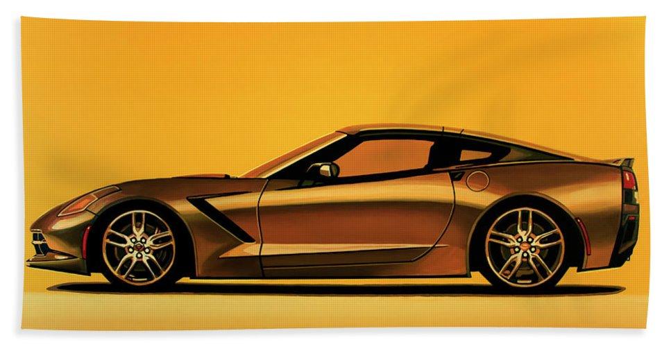 Chevrolet Corvette Stingray Bath Towel featuring the painting Chevrolet Corvette Stingray 2013 Painting by Paul Meijering