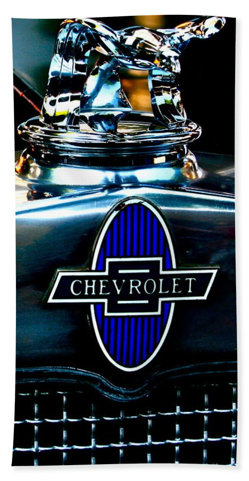 Photograph Of Chevrolet Hood Ornament Hand Towel featuring the photograph Chevrolet Hoodie by Gwyn Newcombe