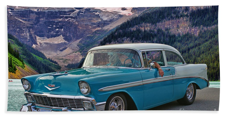 Cars Bath Sheet featuring the photograph Chevy At Lake Louise by Randy Harris