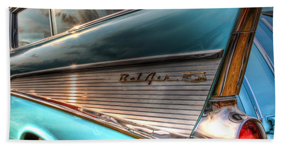 Chevy Bath Sheet featuring the photograph Chevy Bel Air by Joel Witmeyer