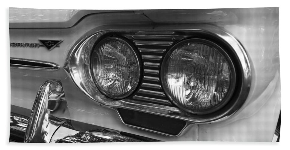 Chevy Hand Towel featuring the photograph Chevy Corvair Headights And Bumper Black And White by Toby McGuire