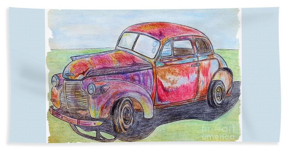 Car Hand Towel featuring the drawing Chevy by Lisa Pfeiffer