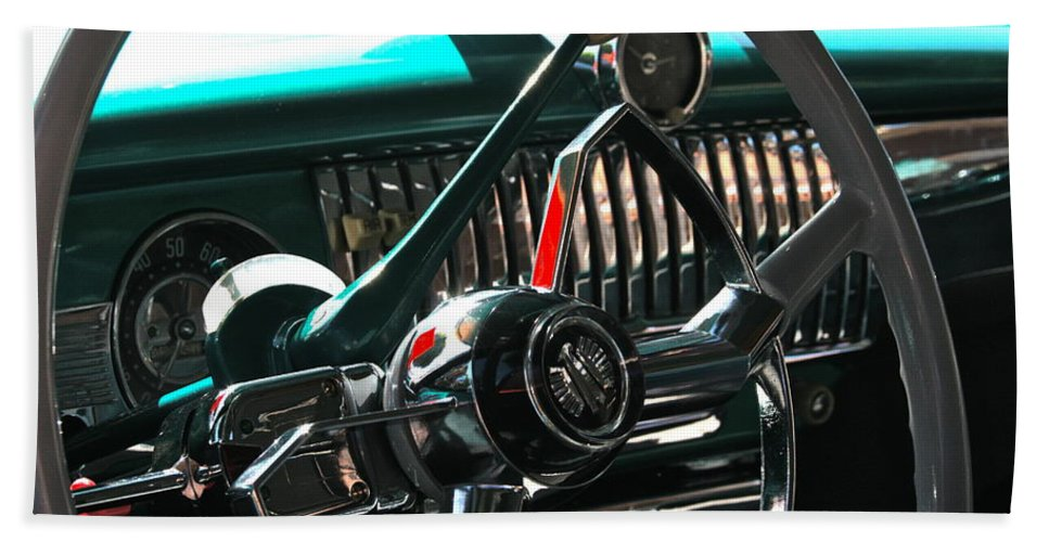 Photograph Bath Sheet featuring the photograph Chevy Powerglide by Gwyn Newcombe