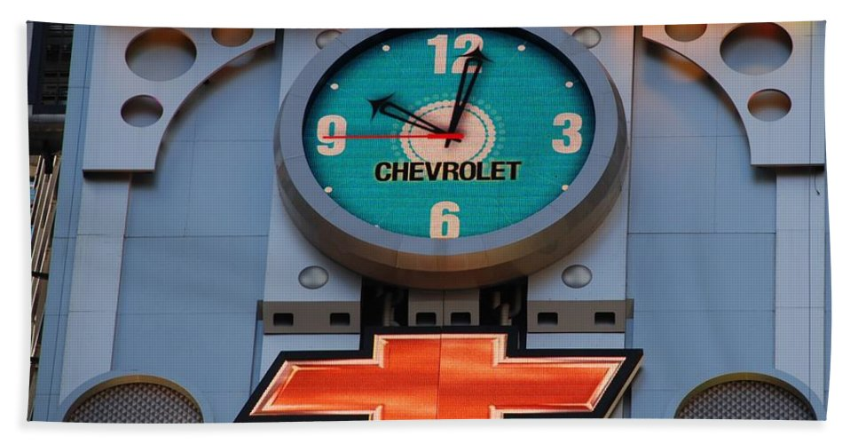 Clock Bath Towel featuring the photograph Chevy Times Square Clock by Rob Hans