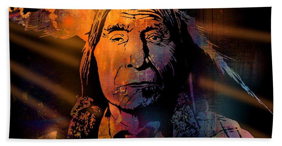 Native American Bath Sheet featuring the painting Cheyenne Sunset by Paul Sachtleben