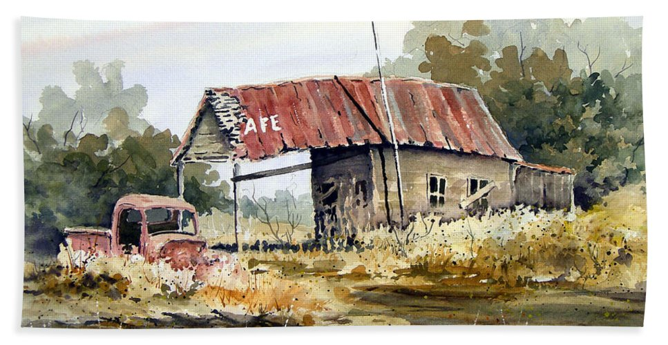 Rural Bath Sheet featuring the painting Cheyenne Valley Station by Sam Sidders