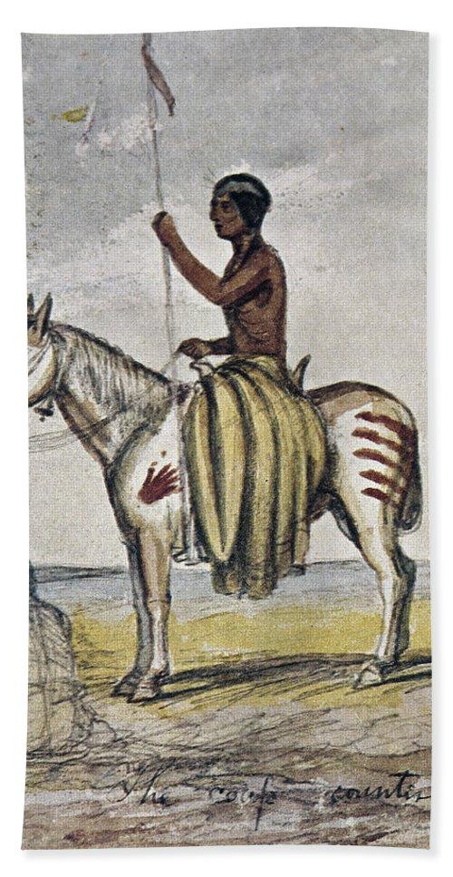 1845 Bath Sheet featuring the photograph Cheyenne Warrior, 1845 by Granger