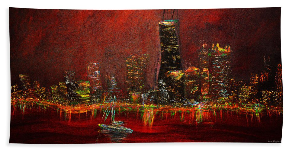 Chicago Hand Towel featuring the painting Chicago Acid Trip by Ken Figurski