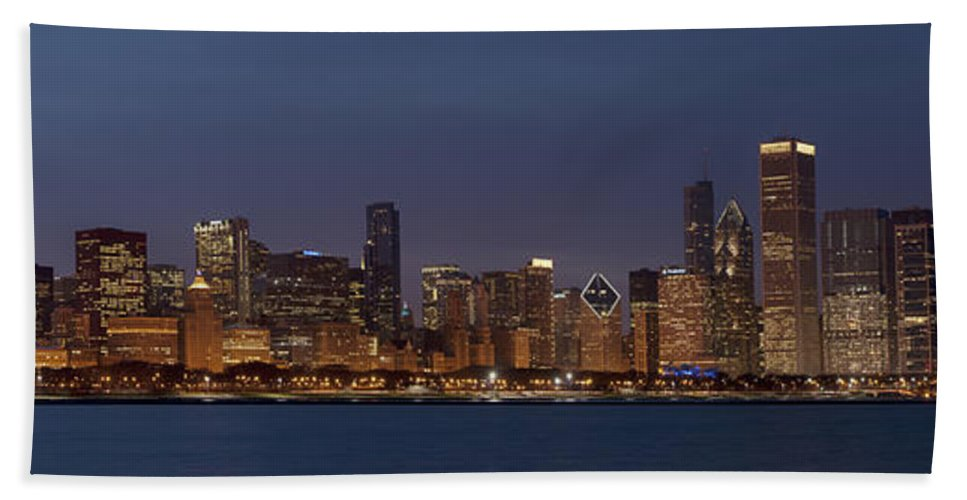 Panorama Bath Sheet featuring the photograph Chicago After Dusk by Sandra Bronstein