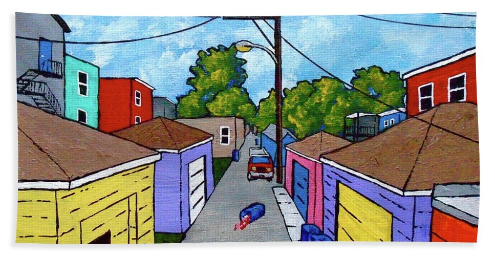Acrylic Bath Sheet featuring the painting Chicago Alley by Mike Kraus