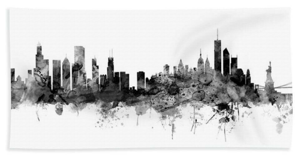 United States Hand Towel featuring the digital art Chicago And New York City Skylines Mashup by Michael Tompsett