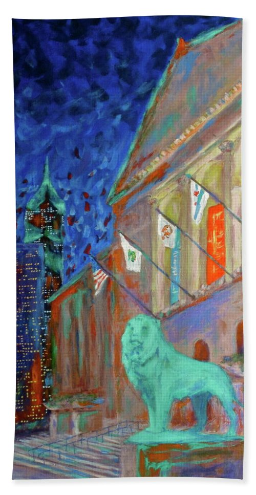 Chicago Art Institute Hand Towel featuring the painting Chicago Art Institute by J Loren Reedy