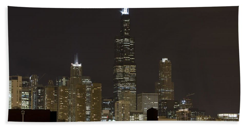 City Sky Skyline Wind Windy Windycity Il Chicago Night Dark Light Lights Street Building Tall House Bath Towel featuring the photograph Chicago At Night I by Andrei Shliakhau