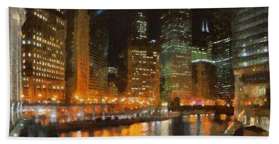 Chicago Bath Towel featuring the painting Chicago At Night by Jeffrey Kolker