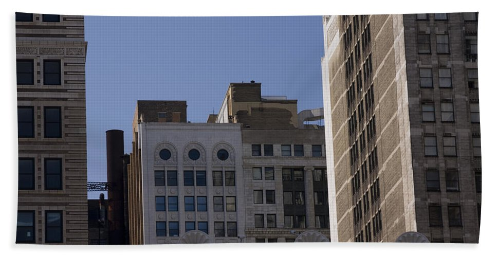 Chicago City Wind Windy Metro Urban Building Blue Sky Tall Big Windows Hand Towel featuring the photograph Chicago Buildings by Andrei Shliakhau