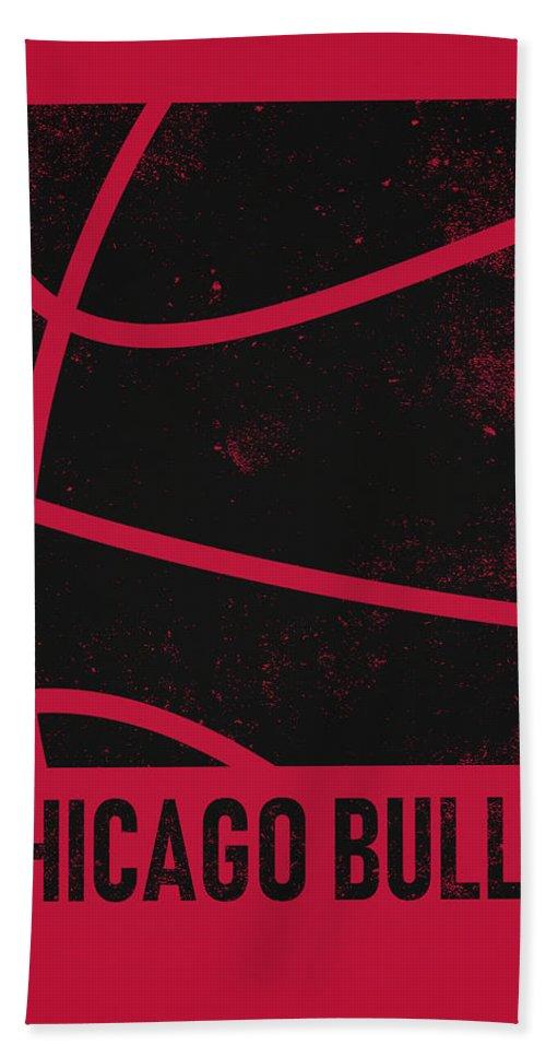 Bulls Bath Towel featuring the mixed media Chicago Bulls City Poster Art 2 by Joe Hamilton