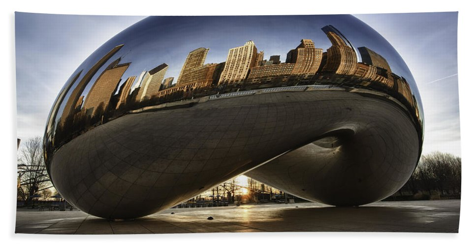 Chicago Cloud Gate Bath Sheet featuring the photograph Chicago Cloud Gate At Sunrise by Sebastian Musial