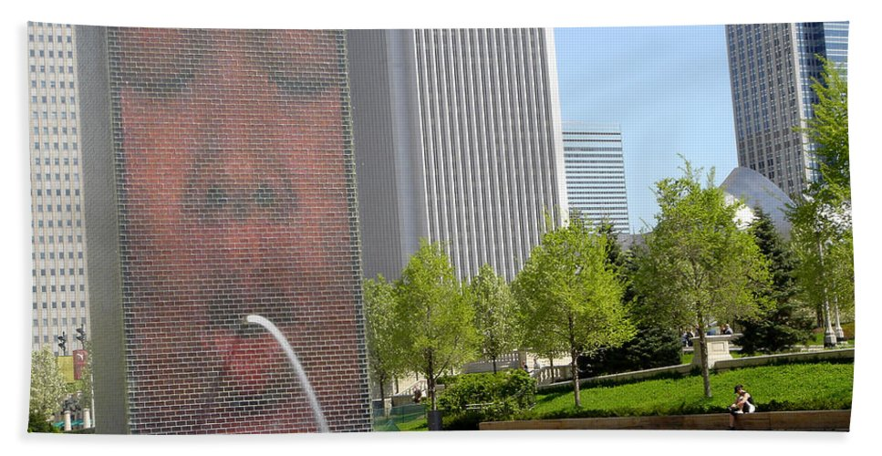 Chicago Hand Towel featuring the photograph Chicago Crown Fountain 8 by Jean Macaluso